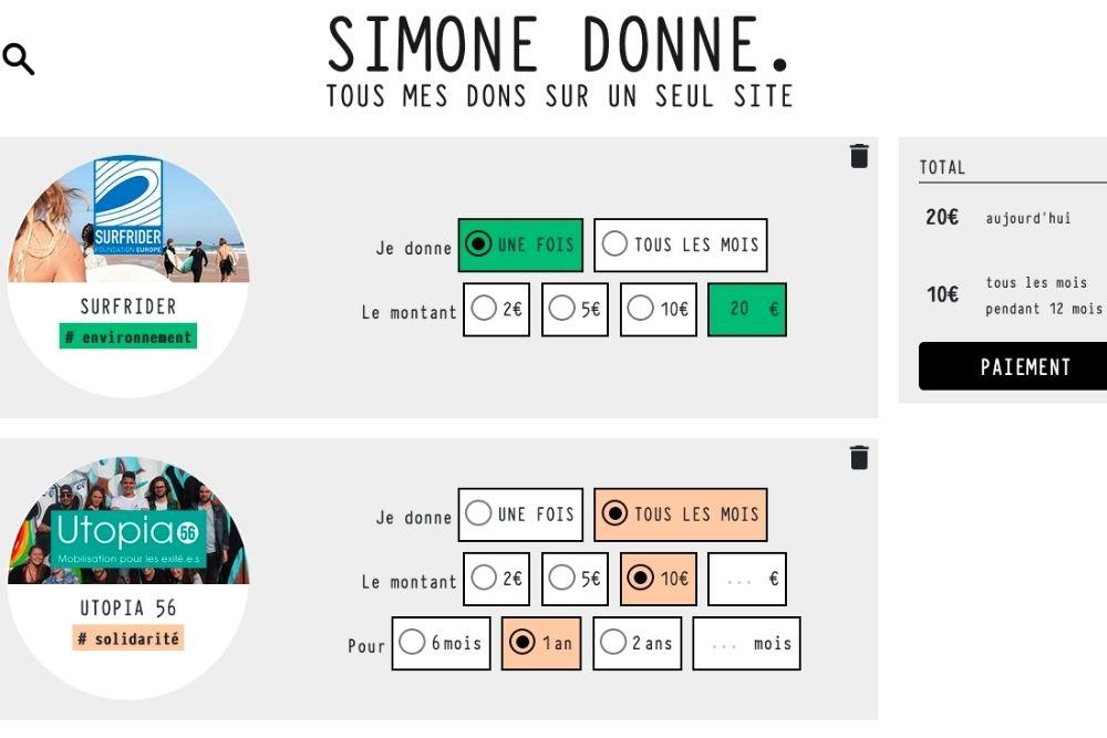 Avec Simone Donne, il est possible de modifier ou d'arrêter ses dons aux associations en quelques clics.