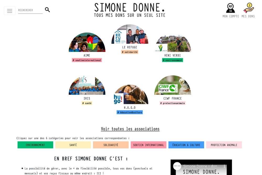 Simone Donne : tous ses dons aux associations sur un seul seul